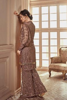 Dusty Brown Heavily Embroidered Festive Palazzo Suit very delicate designer embroidery with zari and thread work with stone embedded detail over its net top paired with matching ghera embroidered n. Party Wear Dresses, Occasion Dresses, Casual Dresses, Fashion Dresses, Wedding Dresses, Pakistani Formal Dresses, Pakistani Outfits, Indian Wedding Wear, Indian Wear