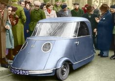 Pierre Fauré's Electra, 1941. This was one of the many electric cars which were built in France during WW II to combat the almost complete absence of petrol. It was a 4-wheeled coupe with narrow track rear wheels for two or three passengers. Pierre Faure showed this car at the first postwar Paris Salon, in 1946, but like others of its kind, it could not compete once petrol cars became available again.