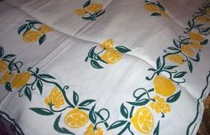 "VINTAGE 1950`s Linen Yellow Lemons Tablecloth 46""x64""  