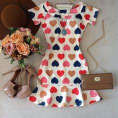 """463 curtidas, 37 comentários - Melrose Brasil Store (@melrosebrasil) no Instagram: """"News!! Muita Fofuraaaa ❤️ • ❣ Vestido Peplum corações 99,80 • Para Compras acesse nosso Site …"""""""