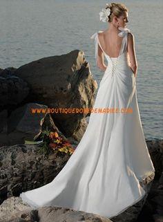 Robe de mariée plage col V avec bretelles