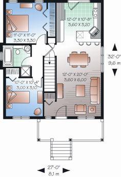 Ranch Style House Plan - 2 Beds 1.00 Baths 870 Sq/Ft Plan #23-2200 Floor Plan - Main Floor Plan - Houseplans.com