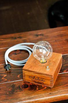 Custom Repurposed/Reclaimed Handmade Cigar Box Lamp/Wood Lamp/Table Lamp/Desk Lamp + Edison Style Vintage/Antique Bulb