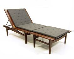 A Danish daybed and footstool by Hans Wegner for Getama. A rare example in beautiful padouk hardwood with brass hinges and steel reclining mechanism, this sleek daybed was Wegner Modern Daybed, Danish Modern Furniture, Retro Furniture, Modern Chairs, Cool Furniture, Furniture Design, Outdoor Furniture, Hans Wegner, Lounge