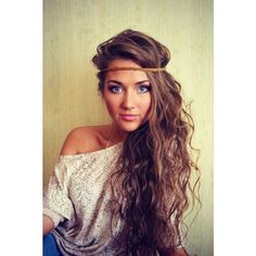 long hair with headband Hairstyles and Beauty Tips ❤ liked on Polyvore