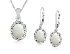 Opal Earrings and Pendant Set in Sterling Silver MyJewelryBox. $149.00. Free Signature MyJewelryBox Gift Box. If you are not completely satisfied, you can return any order for refund or exchange within 30 days from the date of shipment - shop with confidence!. Save 50% Off!