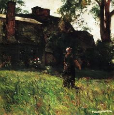 The Old Fairbanks House, Dedham, Massachusetts Artwork by Frederick Childe Hassam Hand-painted and Art Prints on canvas for sale,you can custom the size and frame
