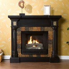 Southern Enterprises Carrington Slate Convertible Black Gel Fuel Fireplace