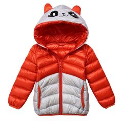 LSERVER Kids Cartoon Chinese Panda Colorblock Puffer Jacket Outwear Winter Warm Light Downcoat. Shell:100% Polyester; Lining: 100% Polyester;Filling: 90% duck down. Zippered cute hooded coat. Color:Orange & Grey Coat/Red & Grey Coat/Rose & Grey Coat/Blue & Grey Coat/Black & Grey Coat. Hand/Machine wash available. Due to asian size is smaller than US size,please check out the size chart first before making orders.