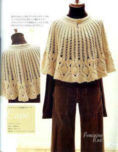 pelerine de croche - poncho with crochet charts