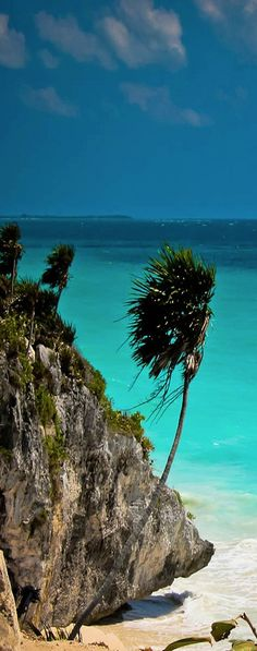 Tulum, Mexico... I was literally at this very spot swimming a few years ago ... Then Hurricane Dean came and we got evacuated .. Fun while it lasted