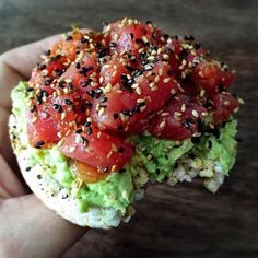 Friday lunch situation: Spicy tuna poke with mashed avocado and furikake on a crispy rice cake. I actually used to spend a lot of time making my own poke but now that I can get quality store-bought salmon or tuna poke at places like I can easi Rice Cake Snacks, Rice Cake Recipes, Whole Food Recipes, Snack Recipes, Cooking Recipes, Rice Cake Toppings, Savoury Recipes, Healthy Snacks, Healthy Eating