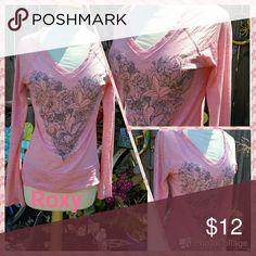Pretty in Pink Jr Medium Roxy Tops Tees - Long Sleeve