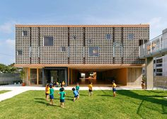 Kindergarten designed to endure typhoons.