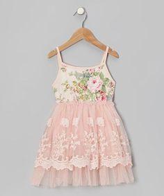 Designer Kidz Peach Floral Lace A-Line Dress - Infant, Toddler & Girls | zulily