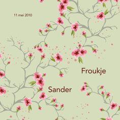 Geboortekaart met takjes en roze bloemetjes- Greetz