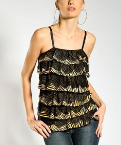 Loving this Black & Tan Stripe Ruffle Top on #zulily! #zulilyfinds