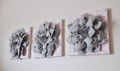 Gray and Light Pink Damask 3D Flower Wall Canvas Artwork Set of 3 Canvases WALL Decor ART Baby Nursery on Etsy, $106.97 AUD