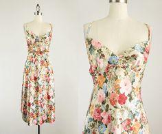 90s vintage floral print maxi slip dress