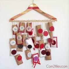 Voici un tuto pour réaliser soi-même un calendrier de l'avent... Un calendrier tout en récup avec un cintre, du baker twine et des pochettes surprises.