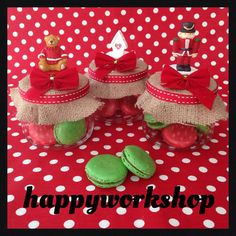 Macarons in the christmas decorated jars