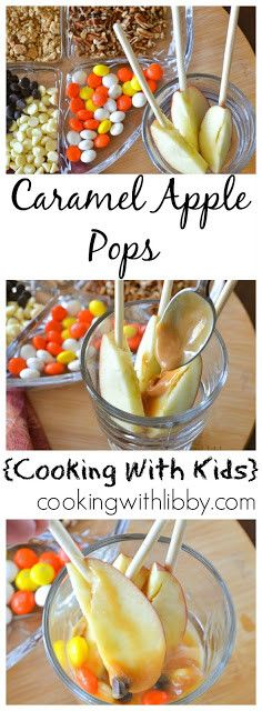 Caramel Apple Pops {Cooking With Kids} Carmel Apple Recipe, Caramel Apple Pops, Mini Caramel Apples, Apple Recipes, Fall Recipes, Real Food Recipes, Fall Snacks, Healthy Snacks For Kids, Cooking With Kids Easy