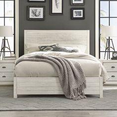 Grain Wood Furniture Montauk Solid Wood Bed Size: King, Color: Rustic Off-White Modern Bedroom, Bedroom Decor, Bedroom Furniture Design, Cozy Master Bedroom Ideas, White Wood Bedroom Furniture, Wood Bedroom Sets, Bedroom Designs, Rustic Bedding, Wood Beds