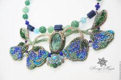 """Купить Колье из натуральных камней """"Первоцвет"""" - морская волна, синий, голубой, бирюзовый, нефритовый, небесный"""