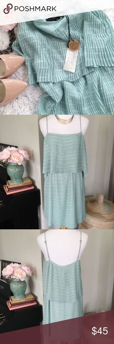 Sanctuary Mint Green Dress New with tags. The Indie Dress is an easy summer dress with a relaxed yet feminine silhouette. This gorgeous mint green with adorable sheer polka dot pattern makes this the perfect dress for summer!  The adjustable straps ensure a perfect fit. No trades. Sanctuary Dresses