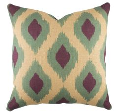 Ikat Burlap Throw Pillow