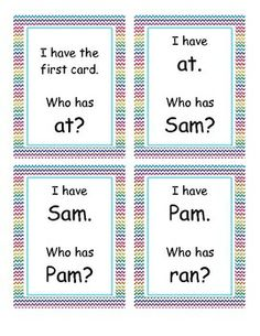 I Have, Who Has game cards designed to practice words with short a.Words included: at, Sam, Pam, ran, can, and, tan, mat, rat, pat, sat, cat, a...