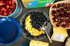 "Easy way to incorporate theme of ""Love You To The Moon & Back"" . Use black or blueberries and form moon shape into pineapple cubes."