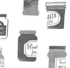 Masako Kubo, jam, jars, quirky pattern, lettering, repeat, print, texture, illustration
