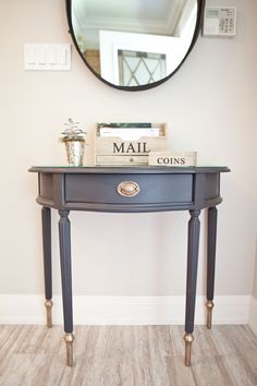 Gallery — Mango Reclaimed - Gallery — Mango Reclaimed Entrance table restyled in Mascara and mild distressed with gold painted details. Refurbished Furniture, Paint Furniture, Upcycled Furniture, Furniture Makeover, Home Furniture, Bedside Table Makeover, Coaster Furniture, Office Furniture, Furniture Design