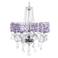 Middleton White Chandelier with Lavender Rose Shades
