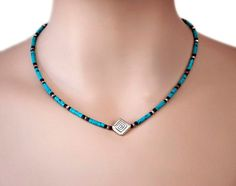Beaded Necklace Pendant Necklace Silver Necklace Turquoise Blue Geometric Boho Necklace Birthday Gift Gift For Her GiftLLD Jewelry Silver Bead Necklace, Bar Necklace, Silver Beads, Beaded Jewelry, Silver Jewelry, Handmade Jewelry, Beaded Necklaces, Necklace Ideas, Craft Jewelry