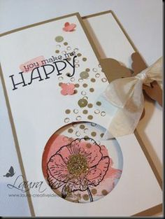 Happy Watercolor and Scallop Tag Punch // Occasions 2014 Stampin' Up! // Fancy fold, fancy closure