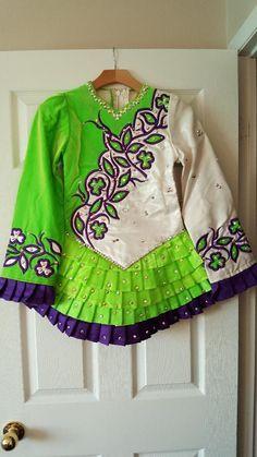 Exquisite Green Michelle Lewis Irish Dance Dress Solo Costume For Sale