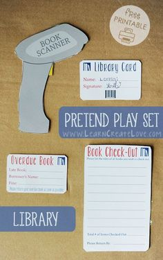 Pretend Play Library Set from LearnCreateLove.com