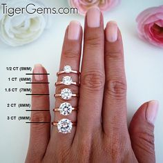 1/2 ct - 3 ct rose gold solitaires are now available in sizes 4-10 at TigerGems.com. These are solid sterling silver plated in 14k rose gold.