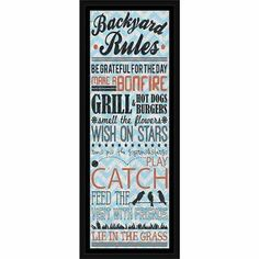 Backyard Rules Chevron Collage Inspirational Typography Blue, Framed Canvas Art by Pied Piper Creative