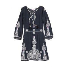 Revana Embroidered Silk Mini Dress