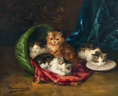 Alfred Arthur Brunel de Neuville Kittens and a Basket 19th century
