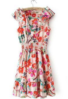 Pink Floral Bandeau Chiffon Ruffles Dress - Sheinside.com