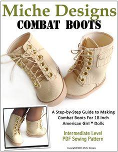 Combat Boots 18 inch Doll Shoes PDF Pattern Download | Pixie Faire