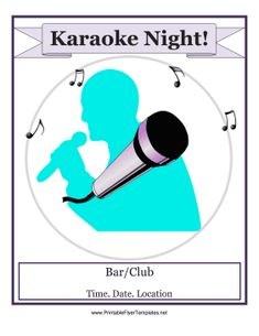 Clubs, bars and restaurants can promote their establishments with this free, printable karaoke night flyer that is decorated with a purple microphone. Free to download and print