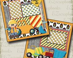Construction - 2 Premade Scrapbook Pages - EZ Layout 859 Baby Boy Scrapbook, Scrapbook Frames, Baby Scrapbook Pages, Scrapbook Page Layouts, Scrapbook Paper Crafts, Scrapbook Cards, Scrapbooking Ideas, Digital Scrapbooking, Birthday Book