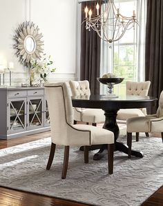 The entertaining season is upon us and hosting friends and family is best with the right dining room furniture. Create an inviting atmosphere to entertain guests. From farmhouse to transitional, we have furniture that'll fit your style. Find dining tables of different sizes, multiple dining chairs and a sideboard to hold the dinnerware. Available at Home Decorators Collection.