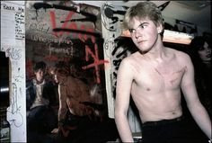 Darby Crash, backstage at the Mabuhay after the Germs set the same night Sid Vicious was there, photo Ruby Ray 1978