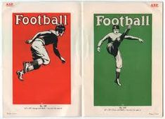 This post will be the first of several regarding vintage sports poster catalogs. For me these are the perfect blend of graphic design and . Concept Board, Football, Baseball Cards, Sports Posters, Vintage, Jacket, Metal, Design, Futbol